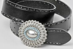 """Fossil Black Leather Belt with Silver Rosette Buckle Size Small 39"""" #Fossil…"""