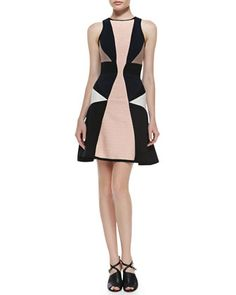 # Jonathan Simkhai: Sleeveless Colorblocked Fit & Flare Dress