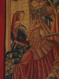 The Return of the Prodigal Son, Tournai, c 1520, wool and silk tapestry, Musee du Moyen Age, Paris. Detail: back-laced overgown, fur-lined hood, pleats in man's coat.: