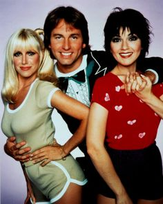 Three's Company - Chrissy (Suzanne Sommers) Jack (John Ritter) Janet (Joyce Dewitt). Liked the landlords, the Ropers, but couldn't stand Larry the upstairs neighbor!