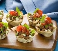 Cute use of 'scoop' chips. Loaded taco bites. Could easily make these vegetarian too.