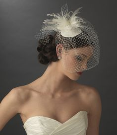 Russian Cage Veil Bridal Hat with Feather & Crystal Accents - White or Ivory. #Weddings Daisy Days