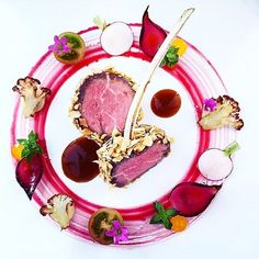 "foodartchefs: By @chef_yankavi ""Filet mignon covered with nuts red beet juice reduction..."""