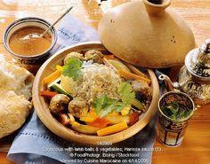 أشهر وصفات الطبخ المغربي بالصور : مطبخ ام ايمن Couscous with lamb balls, vegetables and harissa