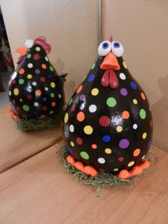 Large Black and Rainbow Polka Dot Chicken by BostfulBits on Etsy, $60.00