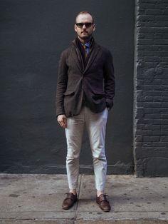 ツイードメンズジャケット着こなし how to wear tweed materials coodination