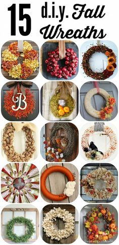 OMG--I am in love!  Check out these 15 stunning DIY fall wreaths, perfect to kick off your fall decor plans!  Awesome round-up by Designer Trapped in a Lawyer's Body! Diy Fall Wreath, Fall Wreaths, Wreath Crafts, Fall Diy, Thanksgiving Wreaths, Ornament Wreath, Fall Halloween, Diy Home Decor, Fall Home Decor