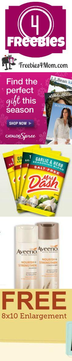 Get 4 Freebies right now: Catalog Spree, Mrs. Dash, Aveeno, and 8x10 http://freebies4mom.com/2012/11/22/4freenov21/