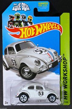 2014 Hot Wheels #191 Volkswagen Beetle White/Herbie THE LOVE BUG/Moc #HotWheels #Volkswagen