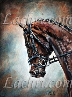 Dressage Horse custom portrait in colored pencil by Lachri Fine Art more at http://www.lachri.com