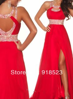Discount Top Hatler Beads and Sequins Backless Slit Red Long Prom Evening Dress 2014 Free Shipping