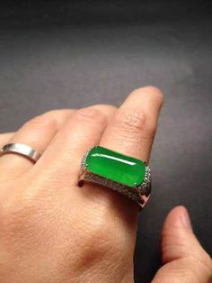 Icy clear royal green jade rectangular engagement ring