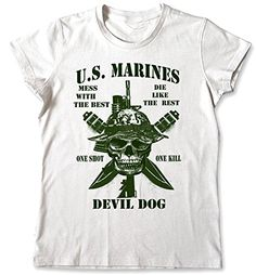 f46b573d Marine Corp USMC T-shirt Military Veteran Devil Dog Patriot White Semper Fi  (Small