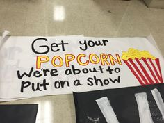 Get your popcorn we are about to put on a show DIY poster. Football Banner, Football Signs, Football Cheer, Football Posters, Varsity Cheer, Football Stuff, School Football, Volleyball Posters, Cheer Posters