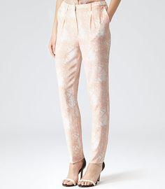Womens Apricot Bardot Print Trousers - Reiss Paloma £135