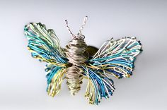 Butterfly Brooch. Insects.Art handmade wire wrapped jewelry.Unique wire wrapped butterfly.Sculpure jewelry.