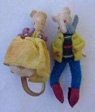Vintage Felt Mice Dolls Miniatures Fur Real Mice Handmade Felt Mouse Couple