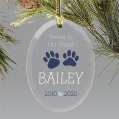 Honor your loyal companion with this Personalized Forever In Our Hearts Paw Prints Oval Ornament. Personalize with, any name, birth year and passing year. Dog Christmas Ornaments, Memorial Ornaments, Christmas Dog, Glass Ornaments, Personalized Ornaments, Personalized Gifts, Word Art Design, Birth Year, Paw Prints