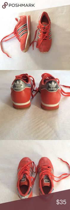 Vintage Adidas  sneakers Unique color and detailing, three silver stripes on either side, spiky tread with logo pattern underneath, silver logo on back and tongue. Unsure of vintage, likely early 80's. In good condition with some signs of wear. Adidas Shoes Athletic Shoes