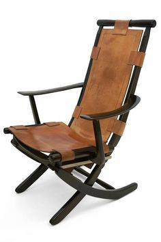 "Adjustable back wood folding chair with original tan leather seat and back.  Size: 25.5"" W 25"" D 39"" H  France, circa 1960"