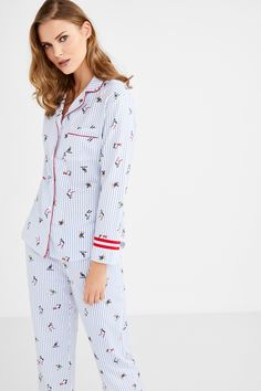 Classic, long cotton pyjamas with a stripe and penguin print, and red borders. Long-sleeved top with front buttons and a pocket on the chest; and matching wide trousers. Kids Nightwear, Sleepwear Women, Pajamas Women, Night Suit, Night Wear, Wide Trousers, Cotton Pyjamas, Pajama Set, Lounge Wear