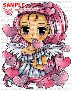 Digital Stamp  Angel of Hearts 278 Digi Stamp by artbymiran