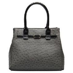 Hynes Eagle Ostrich Textures Ladies Top Handle Handbags (Ash Black)