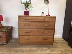 Vintage 1950's 1960's golden oak chest of school drawers Cotswold School Manner