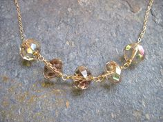 Champagne Crystal Wire Wrapped 14K Gold Filled by NellBelleDesigns, $34.00