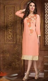 Peach Color Georgette Embroidered Tunic.   #indiantunicsusa #kurtitunictops Express your passion for a liberating life with this peach color georgette embroidered tunic. The fantastic kurti creates a dramatic canvas with astounding resham work.  USD $ 55 (Around £ 38 & Euro 42)