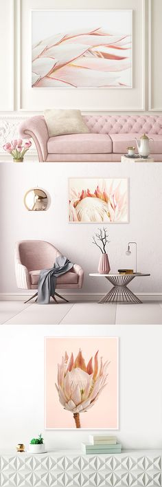 Serene Art Prints And Decor For Your Beautiful Home. Apartment Decorating Themes, Pink Home Accessories, Architecture Design, Bookshelves In Bedroom, Interior Design Images, Painted Furniture, Room Decor, King Protea, Protea Flower