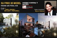 Free sketchup model Pool House #38  by Byron Galve