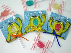 Die etwas andere Einladung zum Kindergeburtstag:  *Die Lolli-Einladung*    Auf jeder Einladung ist ein süßes Monster, das mit seinen Fingern das Al...