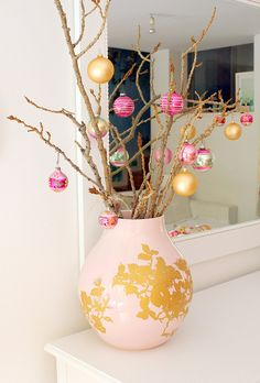 Pink & Gold, interesting combo. Love the stick tree.