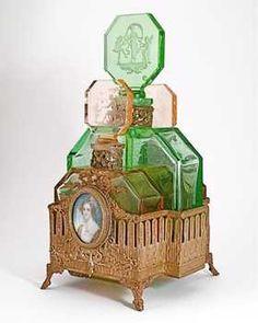 1920s Hoffmann Czech Perfume Set in Holder
