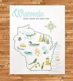 Vintage-Inspired Wisconsin Map Print | Art Prints | Paper Parasol Press | Scoutmob Shoppe | Product Detail