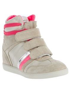 Grey brushed leather hi-top sneaker from Serafini featuring a round toe, contrasting grey panel detailing at the toe and sides, a contrasting fluorescent pink lace up fastening, three velcro straps to the top, a pink stripe detail to the sides and a concealed high wedge heel.