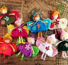 A cluster of fairy / pixie waldorf inspired bendy dolls http://www.etsy.com/shop/ACuriousTwirl  By: A Curious Twirl