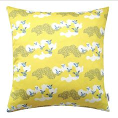 GDUKStyle.com Artisan Feature: Cotton Clouds Cushion - Yellow - 60cm square £64 from Fenton Art Design.