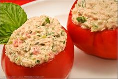 Tuna-Stuffed Summer Tomatoes - low carb :) although I have no desire for cappers, I would replace them with cheese, cuz i like cheese.