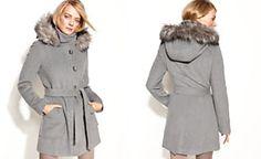 Calvin Klein Turn-Key Hooded Faux-Fur-Trim Coat