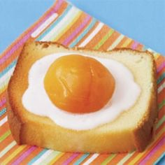 "April Fool's ""Fried egg on toast"" (pound cake, apricot and vanilla yogurt).. white frosting instead?"