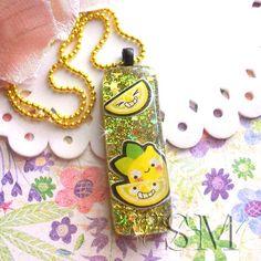 Lemon Lime  kawaii glitter resin necklace by EssemDesign on Etsy, $17.99 #resin