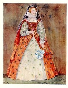 English Costumes Litho - LADY OF THE TIME OF ELIZABETH - Antique Print