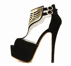 This pair of shoes is in fashion design with black color, buckle decoration, high heels and round toe. It is soft and comfortable for wear. It can show your charming figure perfectly. It is a perfect Red Strappy Heels, Black Pumps Heels, Ankle Strap Heels, Stiletto Heels, Gold Pumps, Stilettos, Peep Toe Pumps, Cheap Heels, Black Slip On Shoes