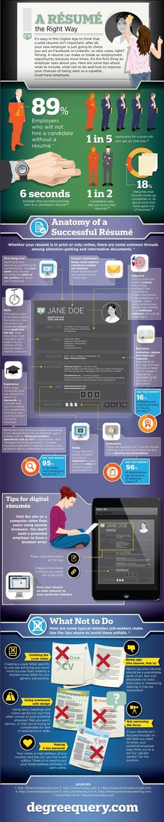 A Resume the Right Way #Infographic. How interesting: the average recruiter looks over your resume is 6 seconds flat.