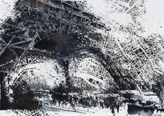 Eiffel tower painting - Paris Map Art Print by nicolasjolly Illustrations, Illustration Art, Dynamic Painting, Painting Art, Plan Paris, Eiffel Tower Painting, Paris Map, Poster Prints, Art Prints