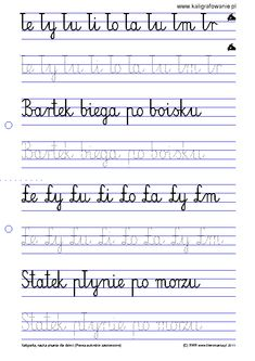 Pisanie - zestaw 1 | Drupal Cursive, Sheet Music, Diy And Crafts, Education, Speech Language Therapy, Therapy, Cuba, Teaching, Onderwijs