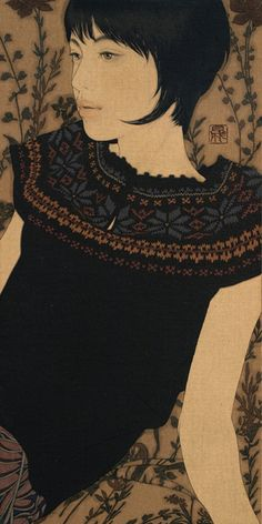 """""""Ikenaga Yasunari is a 1965-born Japanese artist. His paintings depict beautiful women, whose expressions and postures suggest a dreamy atmosphere."""""""