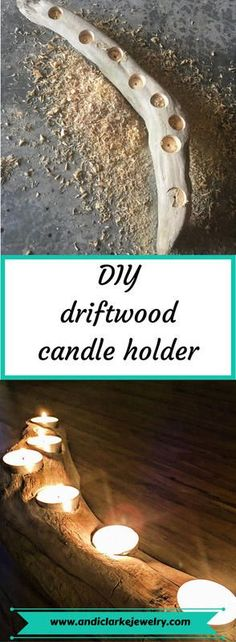 Step by step instructions on how to make a driftwood or even weathered wood candle holder. Read it i Driftwood Jewelry, Driftwood Projects, Driftwood Art, Driftwood Ideas, Driftwood Candle Holders, Diy Candle Holders, Diy Candles, Garden Candles, Support Bougie